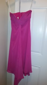 David's Bridal Fuchsia (Begonia) Chiffon Strapless Short F12284 Modern Bridesmaid/Mob Dress Size 2 (XS)