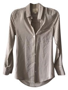 Band of Outsiders Oxford Striped White Button Up Button Down Shirt Cream / Navy