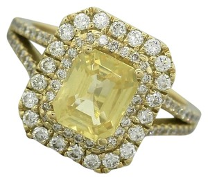 Other Modern Estate 2.59ct Yellow Sapphire Diamond 18K Gold Engagement Ring
