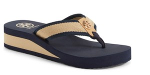 Tory Burch navy khaki Wedges