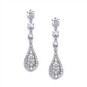 Mariell Cubic Zirconia Prom Or Wedding Dangle Earrings 4019e