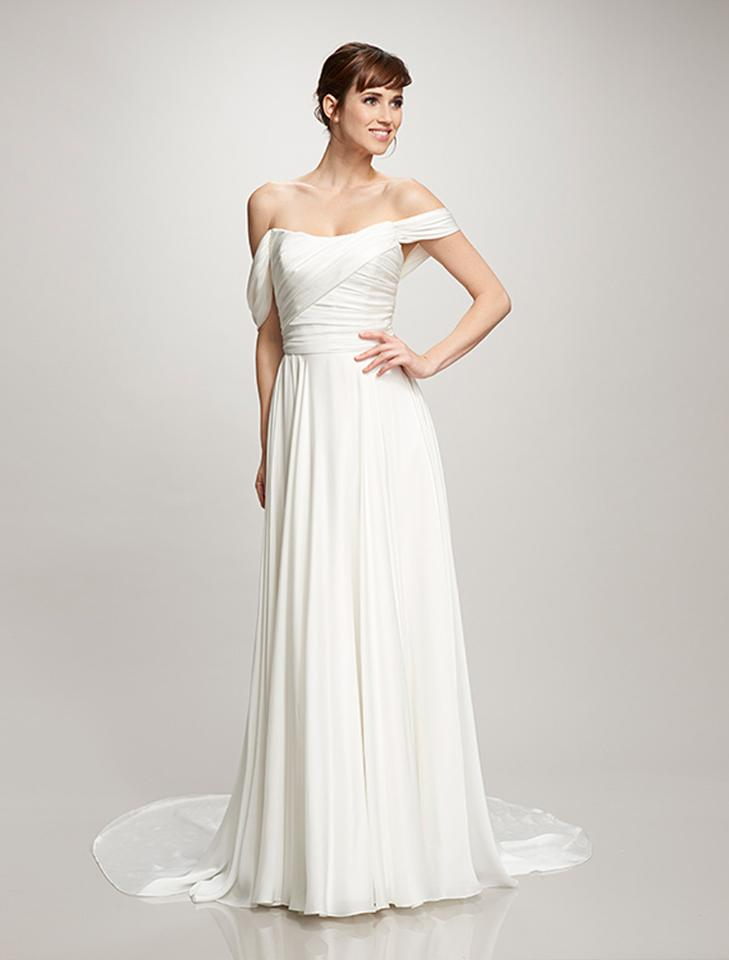 Theia Ivory Satin Face Georgette Delphine 890295 Formal Wedding ...