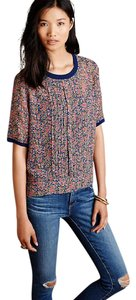 Anthropologie Summer Shear Silk Tee Top multi-colored