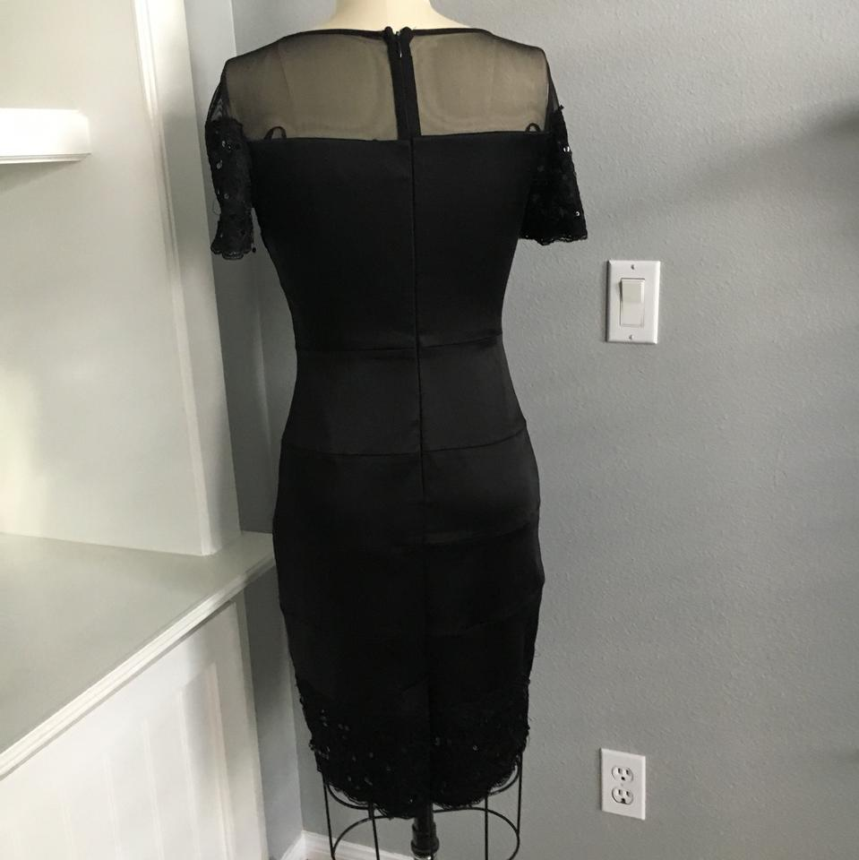 JAX Black Illusion and Lace Mid-length Cocktail Dress Size 4 (S ...