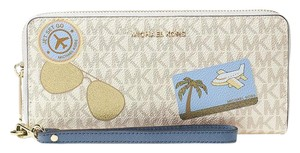 Michael Kors Michael Kors Fly Away Travel Continental Wallet Vanilla/Denim Blue