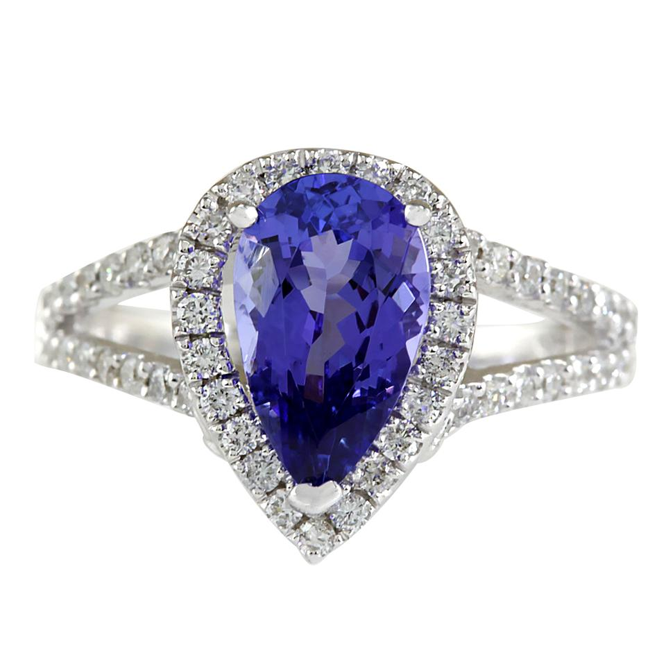 carat blue i ring fashion tanzanite natural diamond gold strada tradesy white