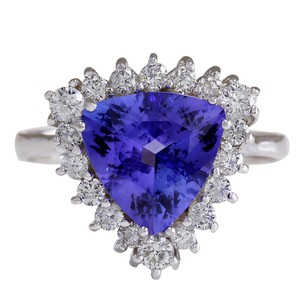 Fashion Strada 3.25CTW Natural Blue Tanzanite And Diamond Ring 14K Solid White Gold