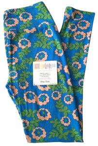 LuLaRoe #lularoe #llrleggings #lulalover #buttersoft Blue with Pink Flowers Leggings