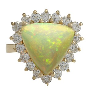 Fashion Strada 4.77CTW Natural Opal And Diamond Ring In 14K Solid Yellow Gold