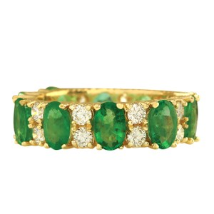 Fashion Strada 5.71CTW Natural Emerald And Diamond Ring In 14K Yellow Gold