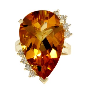 Fashion Strada 13.75CTW Natural Citrine And Diamond Ring 14K Solid Yellow Gold