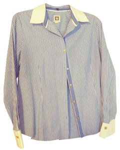 Anne Klein Button Down Shirt Blue pinstripe