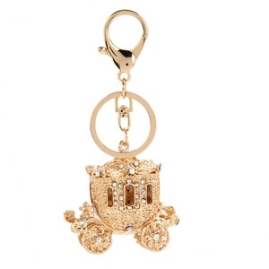 Other Shimmering Gold Plated Rhinestone & Cz Carriage Key Chain
