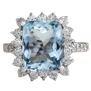 Fashion Strada 6.01CTW Natural Aquamarine And Diamond Ring In 14K White Gold