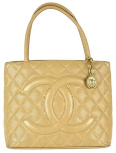 Chanel Quilted Medallion Cc Logo Caviar Tote in Beige