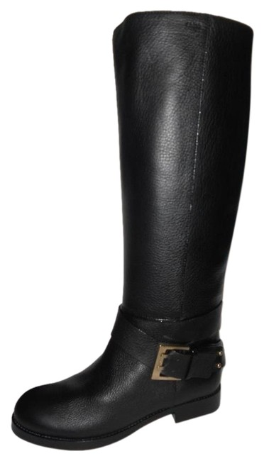 Item - Black Erin Prince Leather Buckled Knee High Tall Riding Flat Boots/Booties Size EU 40 (Approx. US 10) Regular (M, B)