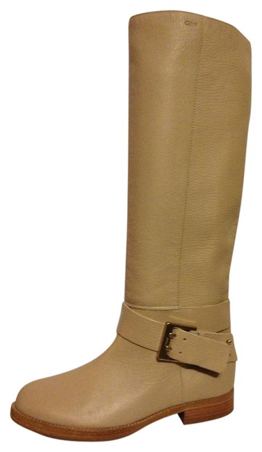 Item - Neutral (Light Beige) Erin Prince Leather Buckled Knee High Tall Riding Flat Boots/Booties Size EU 40.5 (Approx. US 10.5) Regular (M, B)