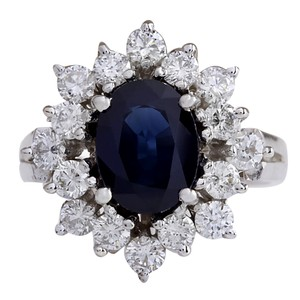 Fashion Strada 3.00CTW Natural Blue Sapphire And Diamond Ring 14K Solid White Gold