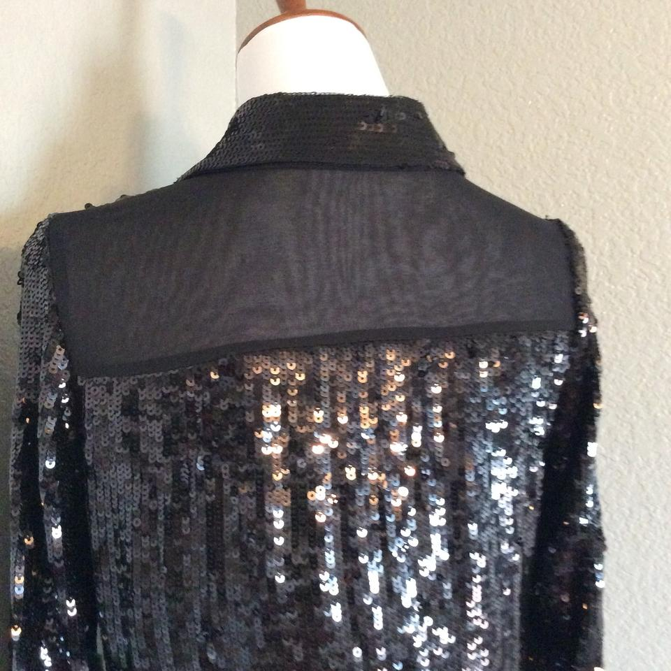 8d1f48103afb8 Alice + Olivia Black Sequins Blouse Button-down Top Size 2 (XS ...