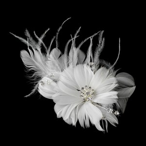Elegance by carbonneau white feather fascinator flower clip with elegance by carbonneau white feather fascinator flower clip with brooch 441 hair accessory mightylinksfo