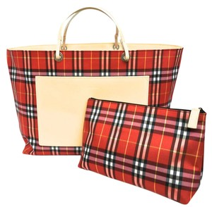 Burberry London Clutch Satchel Tote in Red plaid