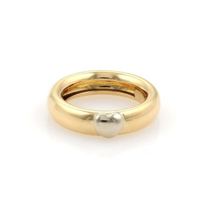 Tiffany & Co. Vintage 18k Two Tone Gold Puffed Heart Dome Band Ring Size 5.5