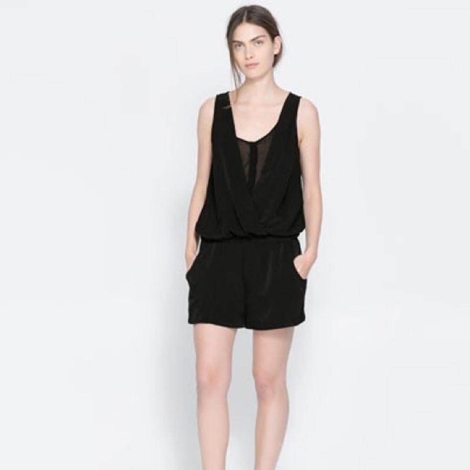 8e3cf54e99f Zara Black Playsuit Sheer Details with Pockets Romper Jumpsuit - Tradesy