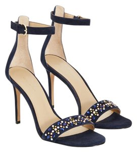 Ann Taylor Stone Embellished Suede Navy Sandals