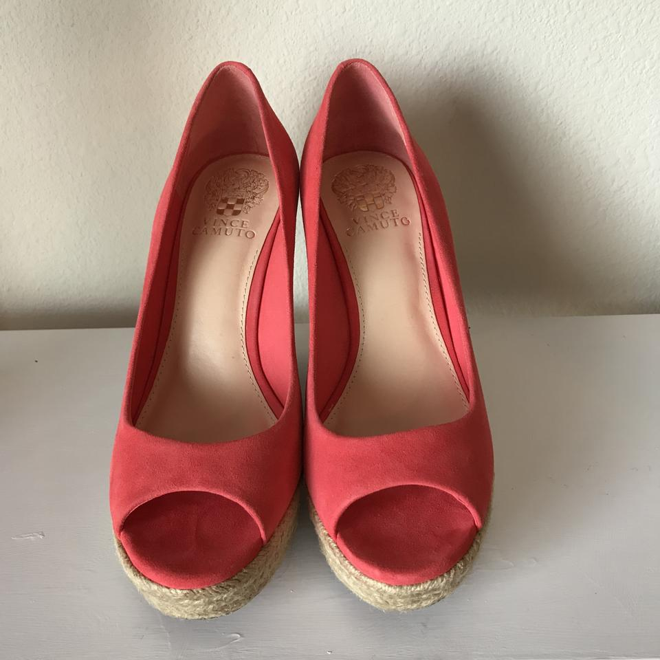 96916b11434 Vince Camuto Espadrille Peep-toe Summer Suede Coral Wedges Image 6. 1234567
