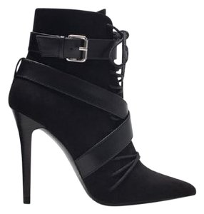 Zara Leather Suede Wrap Lace Black Boots