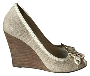 Tory Burch Summer Church Wedding Peep Natural Wedges