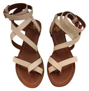 Tory Burch Leather Classic Casual Gladiator White and Brown Sandals