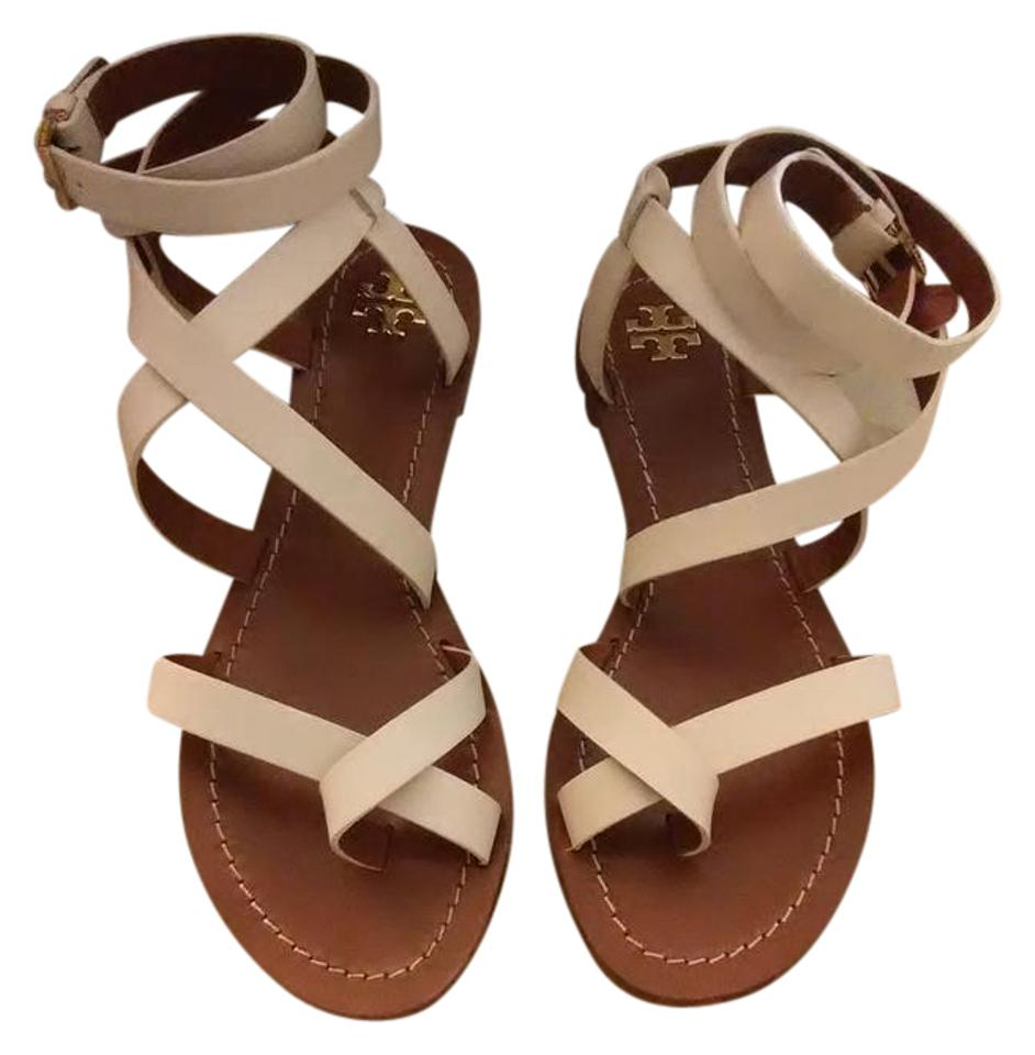 Tory Burch White Sandals and Brown Patos Gladiator Sandals White f9763f