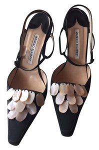 Manolo Blahnik Black and Mother of Pearl adornments Pumps