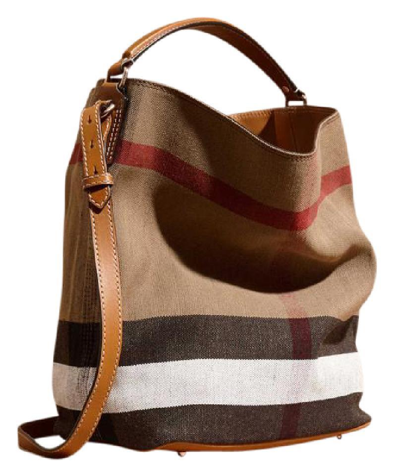 75113dad7f6c Burberry New Ashby Check Brown Canvas and Leather Shoulder Bag - Tradesy