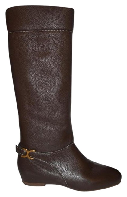 Item - Brown Marcie Pebbled Leather Buckle Ankle Strap Knee High Flat Boots/Booties Size EU 39.5 (Approx. US 9.5) Regular (M, B)