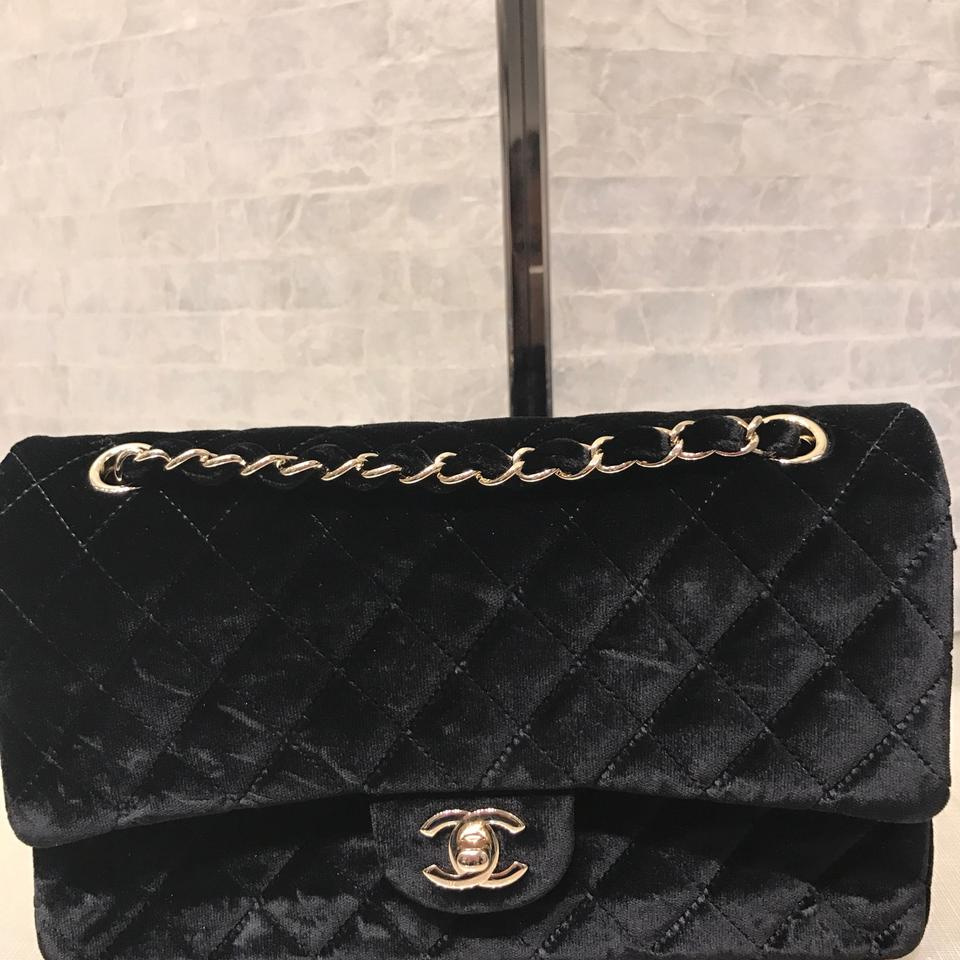 e13e75ce75e6 Chanel Classic Flap Med Classic Double Black Velvet Shoulder Bag ...