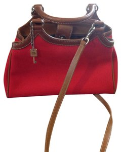 Fossil Classic Canvas Crossbody Summer Satchel in red