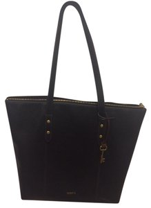 Fossil Leather Laptop Tote in Black