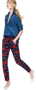 J.Crew Floral Firework Tropical Summer Straight Pants Red and blue