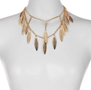 Rebecca Minkoff New Leaf Layered Statment Bib Necklace, Gold, 501577RM