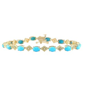 Fashion Strada 5.31 CTW Natural Turquoise And Diamond Bracelet In 14k Yellow Gold