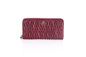 Coach * Coach Gathered Twist Leather Accordion Zip Wallet