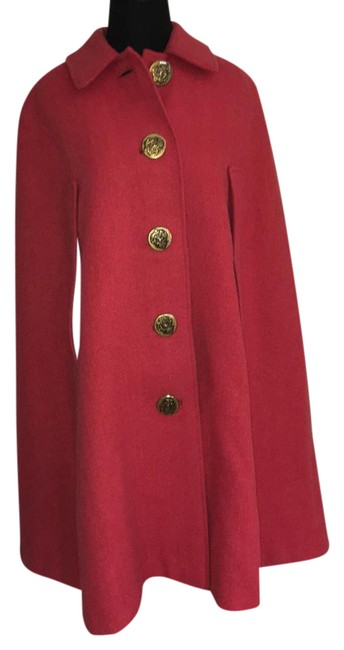 Item - Coral/Fuscia Stunning Wool Blend Poncho/Cape Size 4 (S)