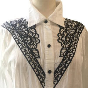 Bob Mackie Button Down Shirt White Black embroidered