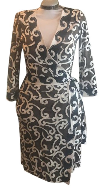 Item - Brown Black and White Patterned Julian Wrap Mid-length Night Out Dress Size 10 (M)