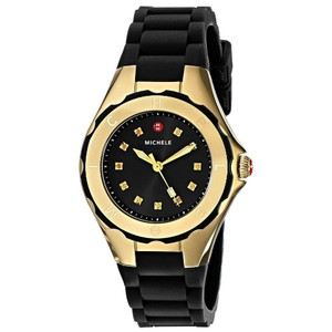 Michele MWW12P000012 Michele Tahitian Jelly Bean Watch Black Rubber Gold Tone