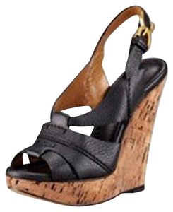 Chloé Renna Cork Platform Black Wedges