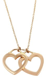 Tiffany & Co. 18K Rose Gold Double Open Hearts Pendant Necklace