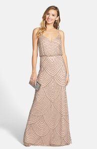 Adrianna Papell Taupe/pink Beaded Blouson Dress